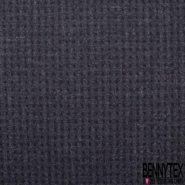 Caban de Laine Spécial Plumetis Noir Illusion Quadrillage fond Chiné Noir Gris