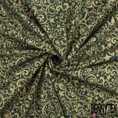Coton de Noël Imprimé Arabesque Or fond Vert