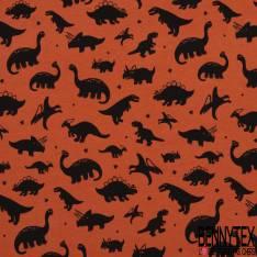 Jersey Coton Elasthanne Imprimé petit Dinosaure Noir fond Orange Brûlée