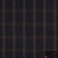 Laine Souple Esprit Vintage Motif Carreaux Ocre Beige Chiné Anthracite Noir