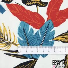 Fibranne Viscose Imprimé Floral Tropical fond Ecru
