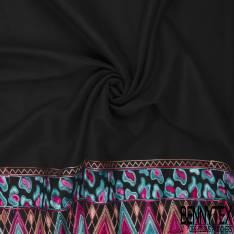 Mlifa Brodé Base Multicolore Esprit Amérindien Rose Turquoise fond Noir
