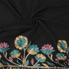 Mlifa Brodé Base Multicolore Esprit Fresque Floral Turquoise Rose Jaune fond Noir