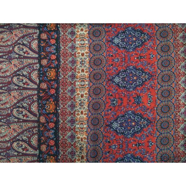 Fibranne Viscose Imprime Orange Rouge Bleu Violet fond Ivoire