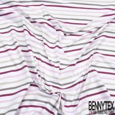 Meryl Polyamide Elasthanne Rayure Horizontale Berlingot Bordeaux Rose Taupe Beige Blanc