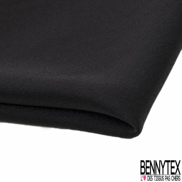 Crêpe Polyester Envers Satin Fluide Noir