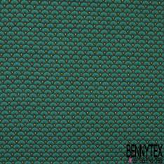 Jersey Coton Elasthanne Imprimé Motif Japonisant Vert Turquoise Anis