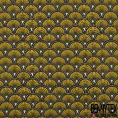 Jersey Coton Elasthanne Imprimé Motif Japonisant Moutarde Ecru