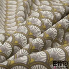 Jersey Coton Elasthanne Imprimé Motif Japonisant Ecru Moutarde