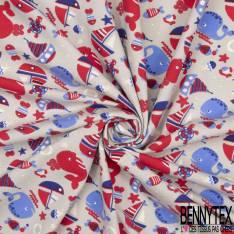 Jersey Coton Elasthanne Imprimé Baleine Voilier Ancre fond Perle