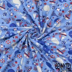 Jersey Coton Elasthanne Imprimé Baleine Voilier Ancre fond Bleu