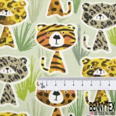 Jersey Coton Elasthanne Imprimé Félins Rigolos dans la Savane fond Vert Amande