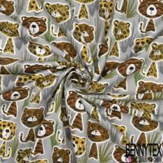 Jersey Coton Elasthanne Imprimé Félins Rigolos dans la Savane fond Gris