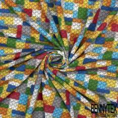 Jersey Coton Elasthanne Imprimé Petites Briques pour Jouer Multicolores