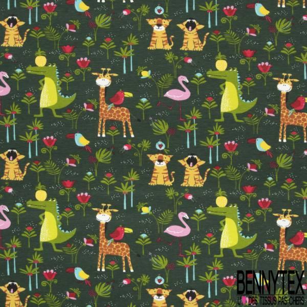 Jersey Coton Elasthanne Imprimé Petits Animaux Sauvages dans la Jungle fond Vert Bouteille