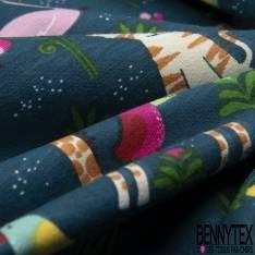 Jersey Coton Elasthanne Imprimé Petits Animaux Sauvages dans la Jungle fond Pétrole