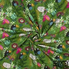 Jersey Coton Elasthanne Imprimé Léopards Toucan et Paillon dans la Jungle fond Vert Gazon