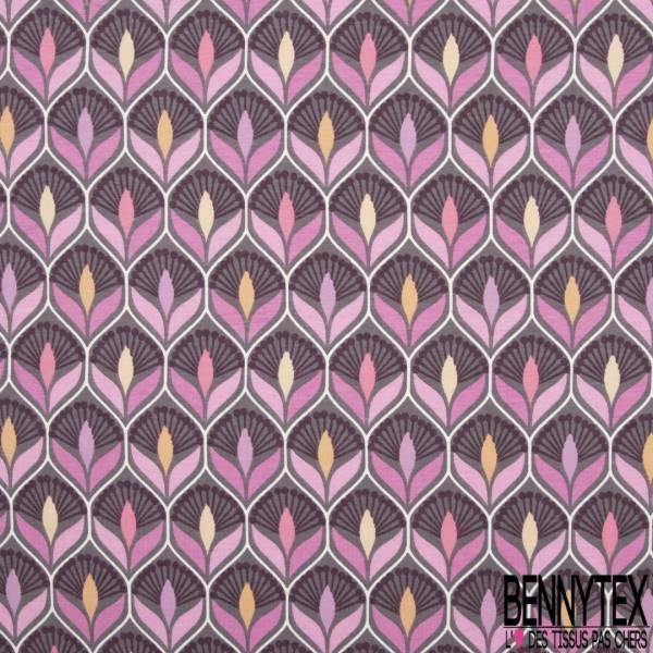 Jersey Coton Elasthanne Imprimé Seventies Esprit Papier Peint Camaïeu Rose