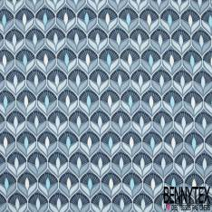 Jersey Coton Elasthanne Imprimé Seventies Esprit Papier Peint Camaïeu Bleu