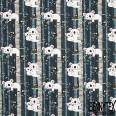 Jersey Coton Elasthanne Imprimé Koala dans les Arbres ton Bleu