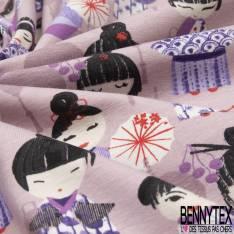 Jersey Coton Elasthanne Imprimé petite Geisha fond Rose