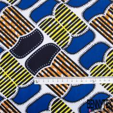Wax Africain N° 762: Motif Rabat de Poche Fantaisie fond Blanc