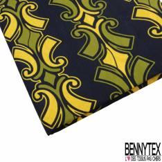 Wax Africain N° 764: Motif Guirlande Baroque Olive Jaune fond Noir Bleûté