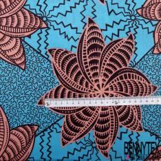 Wax Africain N° 765: Motif Fleur Tropical Fantaisie Saumon fond Turquoise Fantaisie