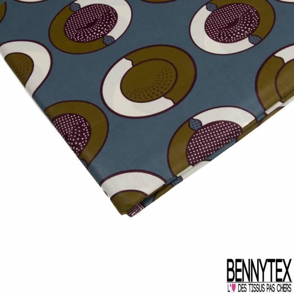 Wax Africain N° 776: Motif Ovale Fantaisie Olive Crème fond Bleu Gris