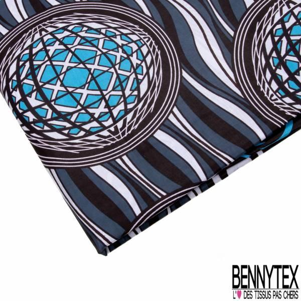 Wax Africain N° 779: Double Base Motif Boule à Facette Disco fond Sinusoïde Gris Blanc