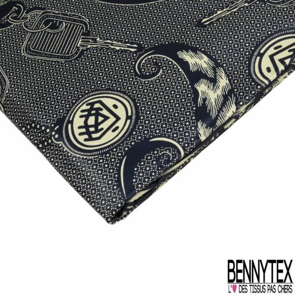 Wax Africain N° 782: Motif Porte Clef Gri-gri et Clef fond Motif Cravate Marine Crème