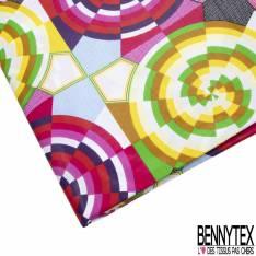 Wax Africain N° 784: Motif Damier avec Spirale Décalée Multicolore