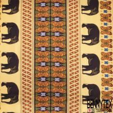 Wax Africain N° 787: Motif Ethnique Eléphant Papillon Camaïeu Marron Orange
