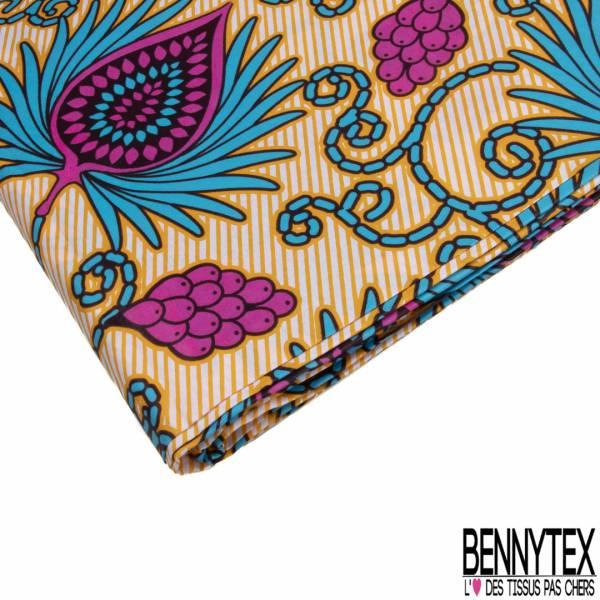 Wax Africain N° 788: Motif Fleur Fantaisie Bleu Rose fond Strié Jaune Or Blanc
