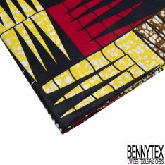 Wax Africain N° 789: Motif Damier Fantaisie Triangle Jaune Rouge Nuit Blanc