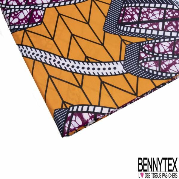 Wax Africain N° 792: Motif Pellicule Photo Déroulée Marbré Orchidée fond Orange Fantaisie