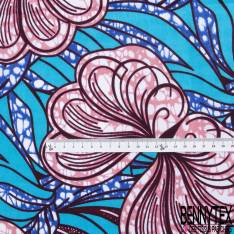 Wax Africain N° 793: Motif Grande Fleur des Îles Marbré Rose fond Feuillage Ton Bleu