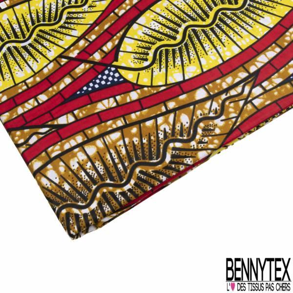 Wax Africain N° 794: Motif Grande Feuille Esprit Tribal Marbré Jaune Cappuccino Rouge