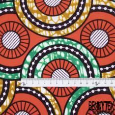 Wax Africain N° 797: Motif Roue Fantaisie Aubergine Orange Marbré Ocre Vert