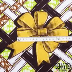 Wax Africain N° 798: Motif Ruban Entremêlé et Noeud Cadeau Jaune fond Marbré Anis