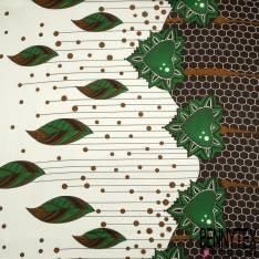 Wax Africain N° 800: Simple Base Nid D'abeille Motif Feuille fons Crème Strié