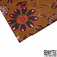 Wax Africain N° 802: Motif Floral Esprit Indien Multicolore fond Ocre