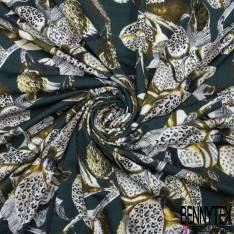 Jersey Modal Imprimé Grande Fleur avec Feuille fond Vert Anglais