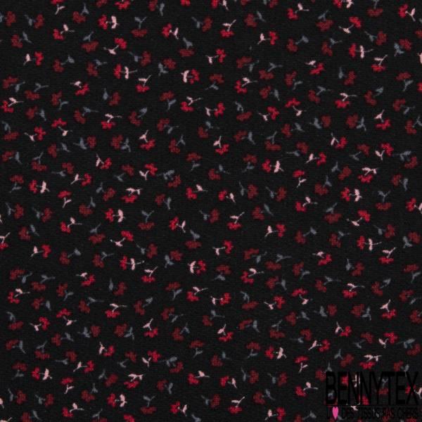 Molleton Fin Bouclette Motif Petite Fleur Champêtre Rouge fond Noir