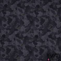 Molleton Fin Gratté Motif Camouflage Effacé Chiné Camaïeu Gris Noir