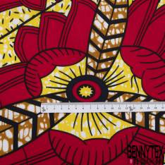 Wax Africain N° 805: Motif Grande Plume Marbré Jaune Ocre Rouge
