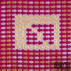Wax Africain N° 807: Motif Flèche Fushia Marbré Orange Rayé