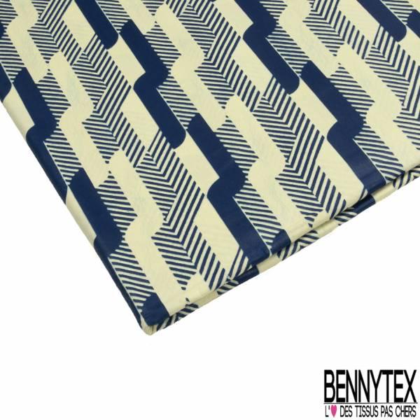 Wax Africain N° 808: Motif Géométrique Crème Marine Fantaisie