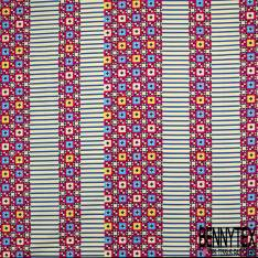 Wax Africain N° 809: Motif Bande Rayée Bleu Roi Crème et Bande Amérindienne Multicolore