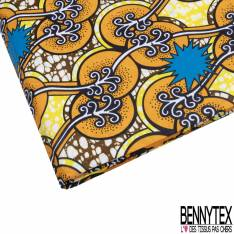 Wax Africain N° 810: Motif Branche Fantaisie Blanche et Explosion Bleu fond Marbré Jaune Ocre